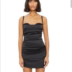 Danielle Guizio Ruched Satin Dress Black